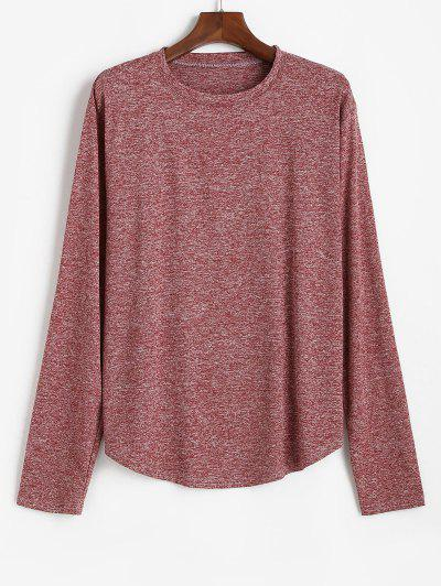 Long Sleeve Curved Hem Heathered T-shirt - Red Wine S