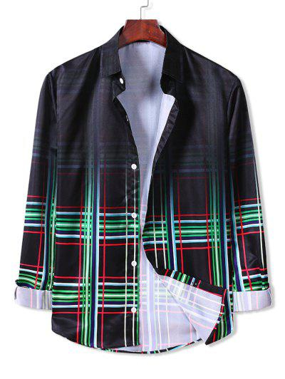 Ombre Plaid Long Sleeve Button Down Shirt - Clover Green Xl