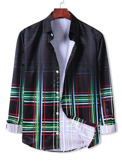 Ombre Plaid Long Sleeve Button Down Shirt - Clover Green 2xl