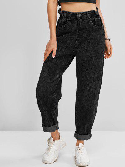 Pockets Bleach Wash Paperbag Jeans - Black S