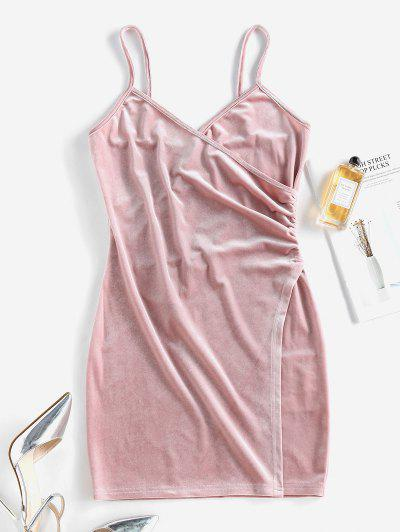 ZAFUL Waist Ruched Slip Dress - Pink S