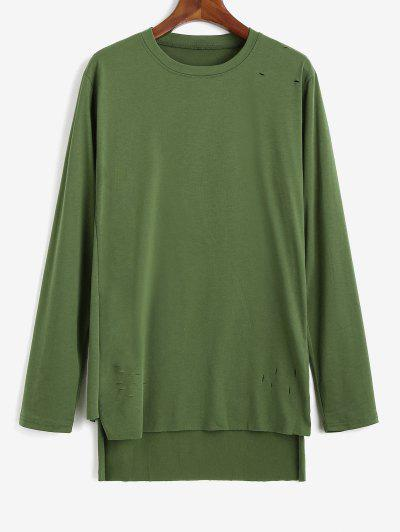 Side Slit Ripped High Low T-shirt - Green M