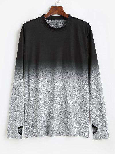 Long Sleeve Polka Dot Dip Dye Print T-shirt - Light Gray Xl
