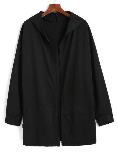 Hooded Kangaroo Pocket Open Front Jacket - Black L