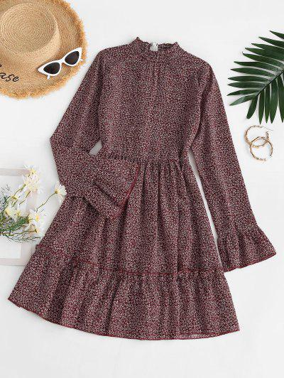Ditsy Print Smocked Neck Flare Sleeve Dress - Red M