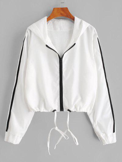Hooded Side Striped Mesh Lining Windbreaker Jacket - White Xl