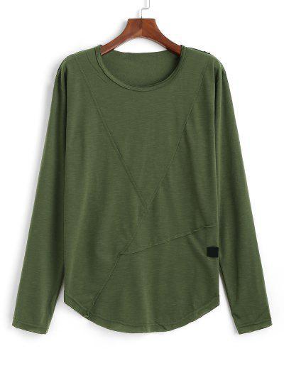Long Sleeve Applique Curved Hem T-shirt - Army Green 3xl