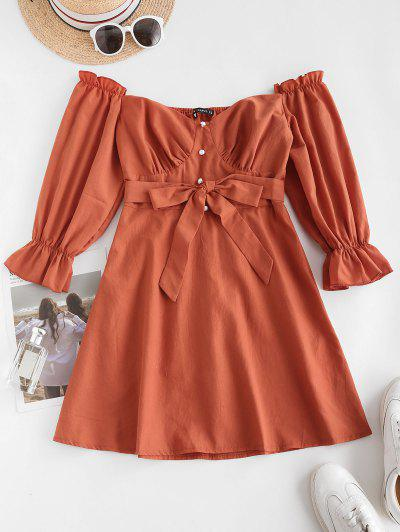 ZAFUL Belted Pearly Buttoned Off Shoulder Dress - Orange M