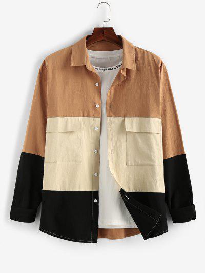 ZAFUL Long Sleeve Contrast Cargo Shirt - Multi L