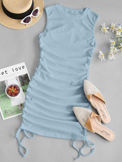 Ribbed Cinched Side Tank Dress - Light Blue L