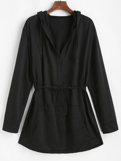 Hooded Open Front Toggle Drawstring Jacket - Black 3xl