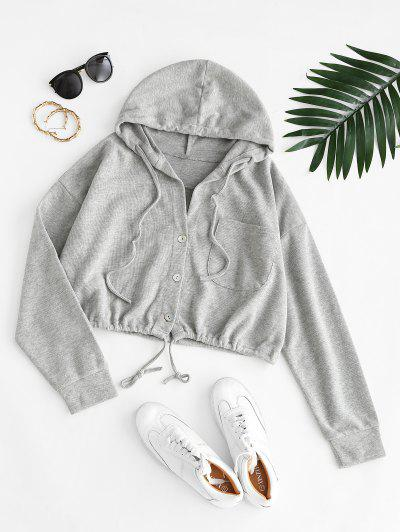 Hooded Front Pocket Knit Jacket - Gray Cloud S