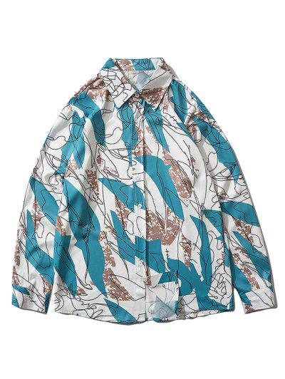 Drawing Graphic Pattern Button Up Shirt - Dodger Blue L
