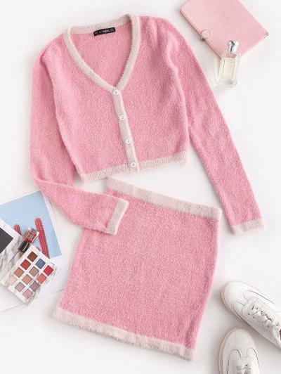 Patchwork Fuzzy Button Up Two Piece Dress - Light Pink