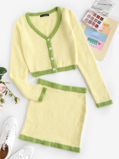 Patchwork Fuzzy Button Up Two Piece Dress - Light Yellow