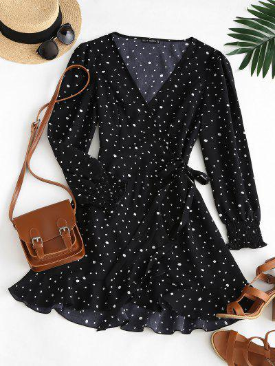 ZAFUL Speckled Smocked Cuff Ruffle Wrap Dress - Black L