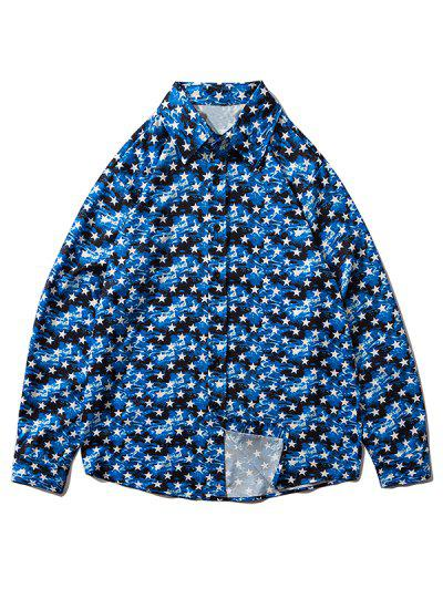 Star Allover Pattern Button Up Shirt - Blueberry Blue Xl