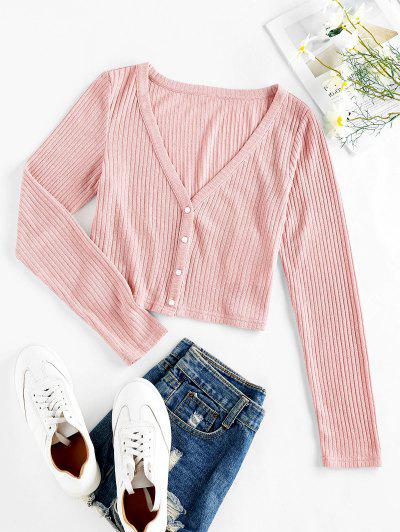 ZAFUL Ribbed Knit Crop Cardigan - Pig Pink S