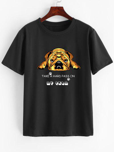 Short Sleeve Cartoon Dog Print Slogan T-shirt - Deep Yellow M