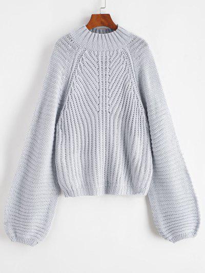 Mock Neck Raglan Sleeve Chunky Sweater - Gray Goose