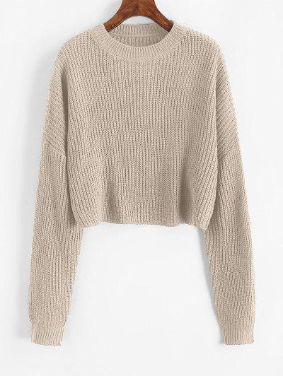 Plain Cropped Oversized Sweater - Champagne Gold S