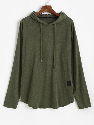 Drawstring Letter Applique Casual Hoodie - Army Green 3xl