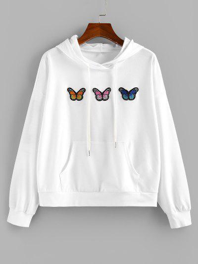 ZAFUL Butterfly Applique Drop Shoulder Kangaroo Pocket Hoodie - White M
