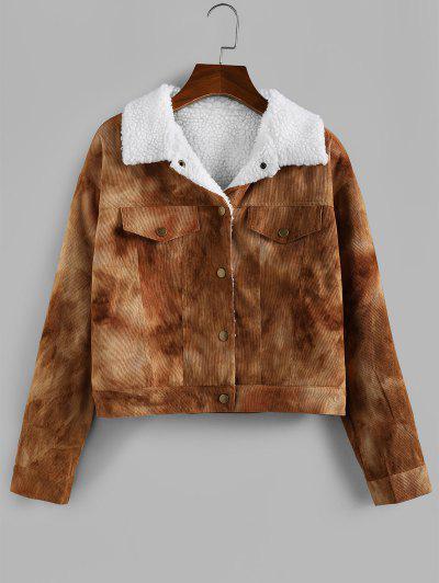 ZAFUL Tie Dye Corduroy Drop Shoulder Fleece Lining Jacket - Camel Brown Xl
