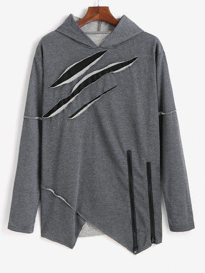 Ripped Zipper Slit Asymmetrical Hoodie - Dark Gray Xs