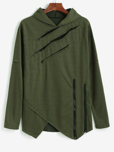 Ripped Zipper Slit Asymmetrical Hoodie - Army Green S