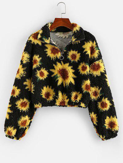 ZAFUL Flower Drop Shoulder Zip Placket Teddy Sweatshirt - Black L