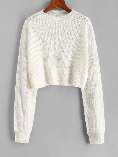 Plain Cropped Oversized Sweater - White M