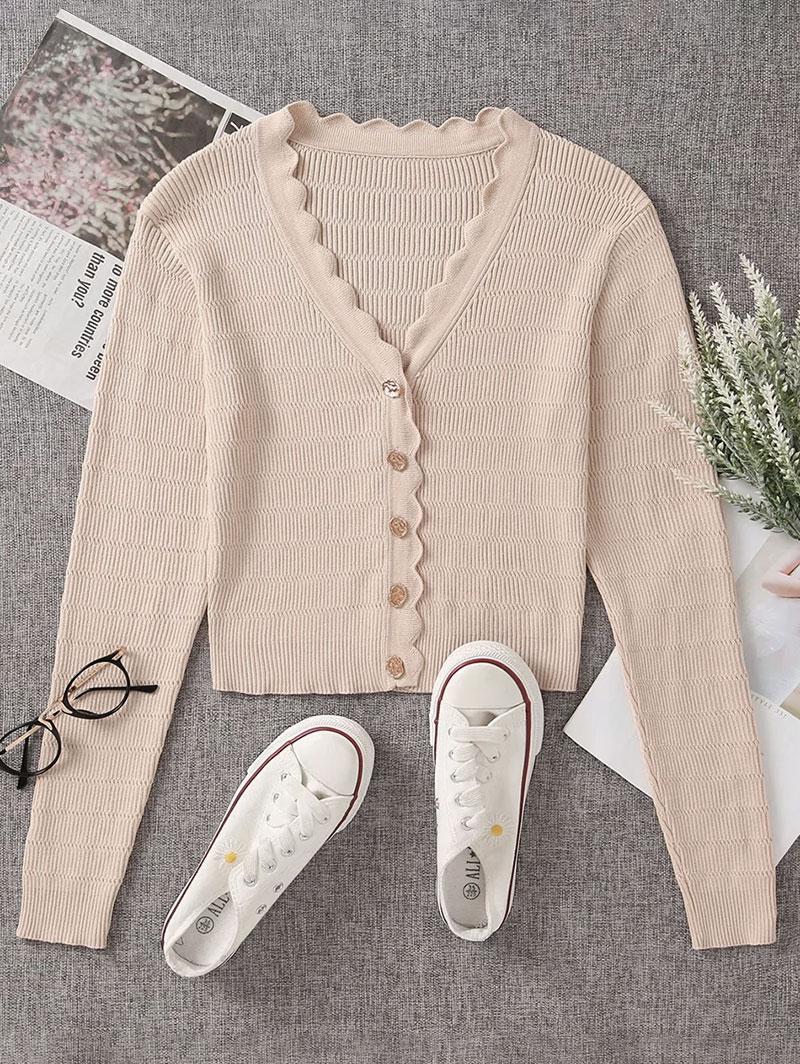 Button Up V Neck Crop Cardigan