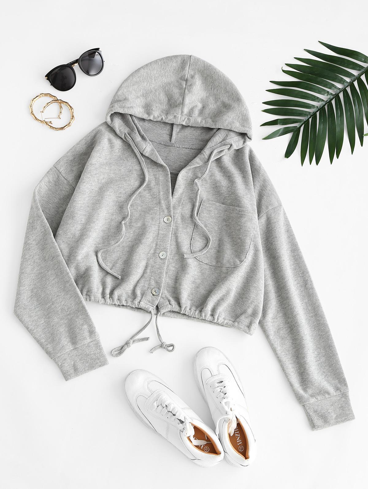 Hooded Front Pocket Knit Jacket