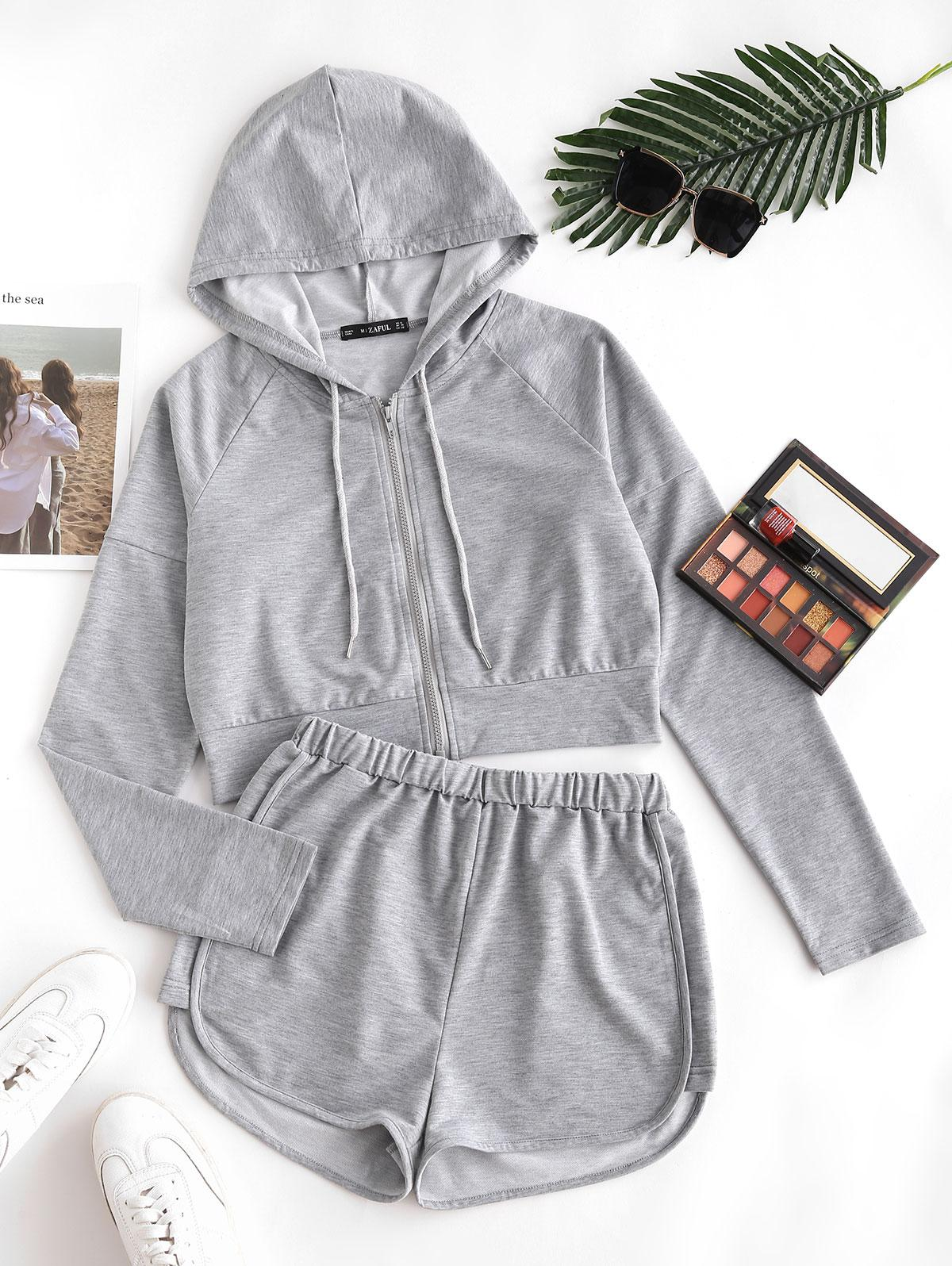 Zip Up Lounge Cropped Two Piece Set
