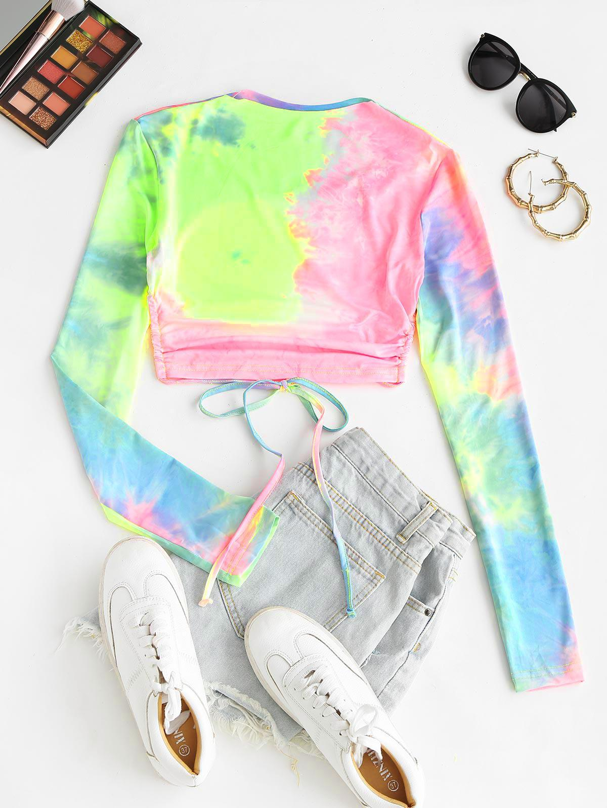 Tie Dye Open Back Long Sleeve Crop Top