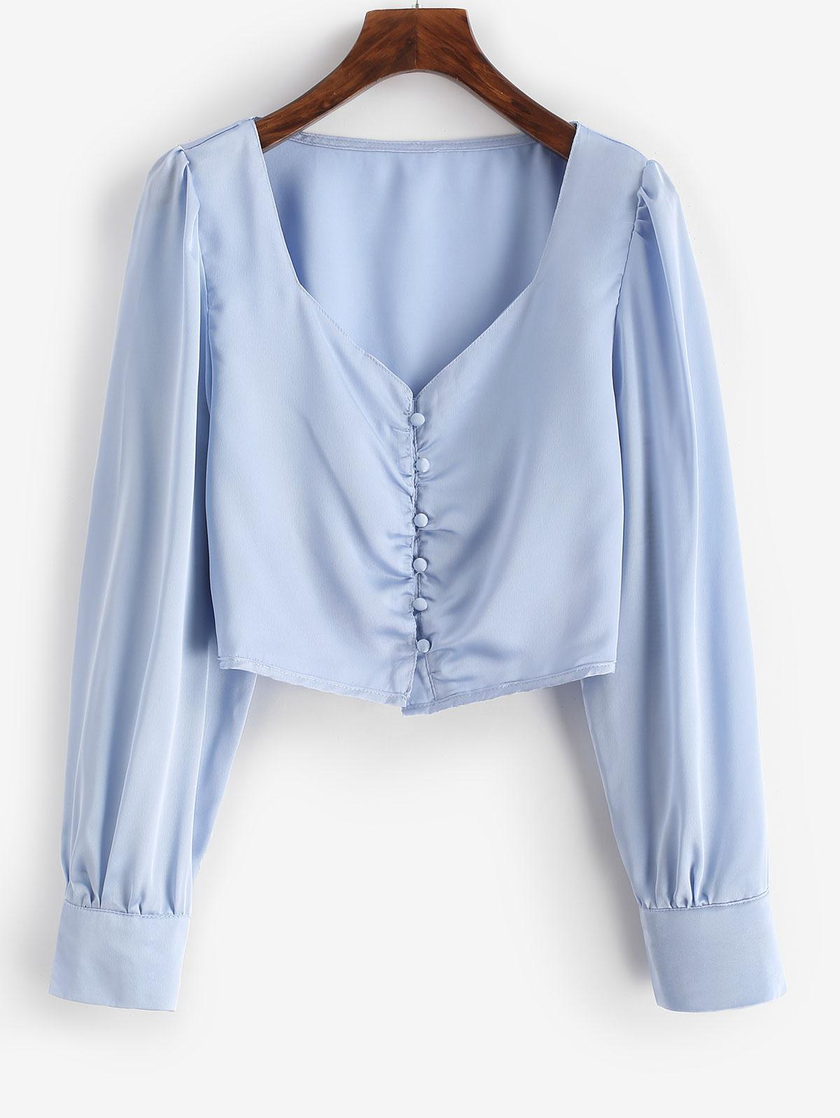 Button Down Silky Satin Cropped Blouse