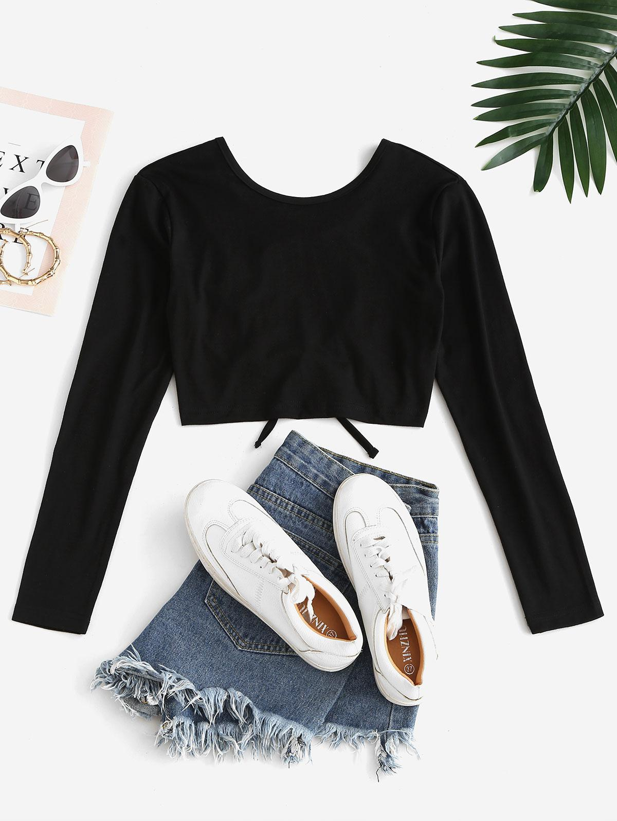 Lace Up Backless Crop T-shirt