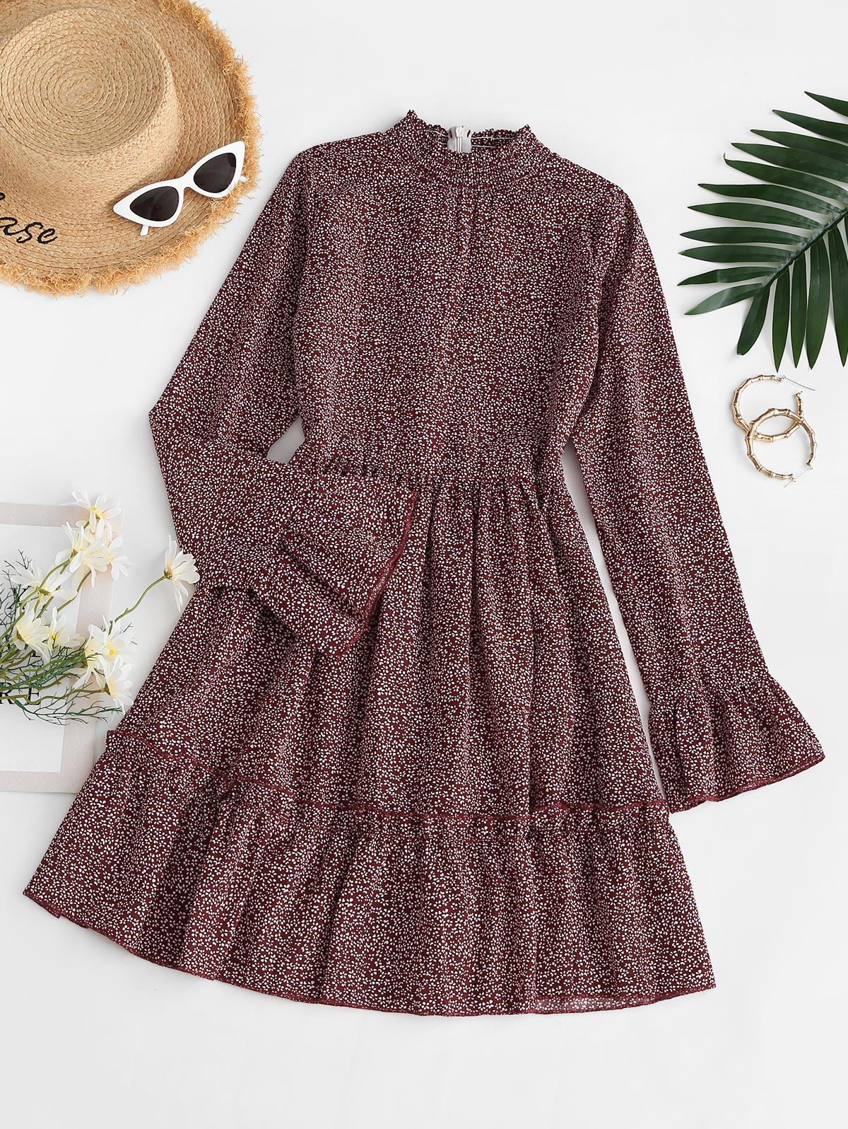 Ditsy Print Smocked Neck Flare Sleeve Dress