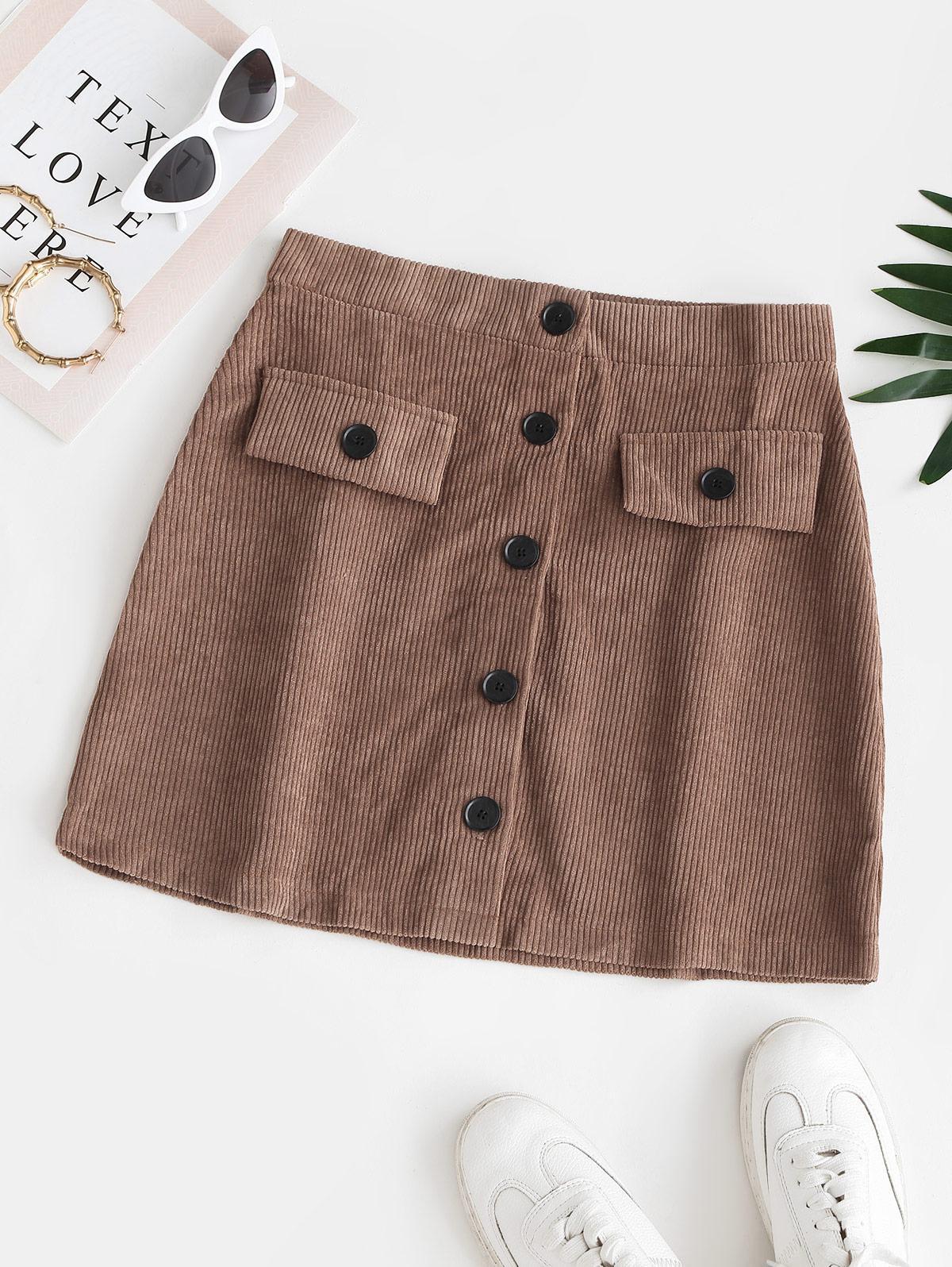 Corduroy Button Up Flap Detail Skirt