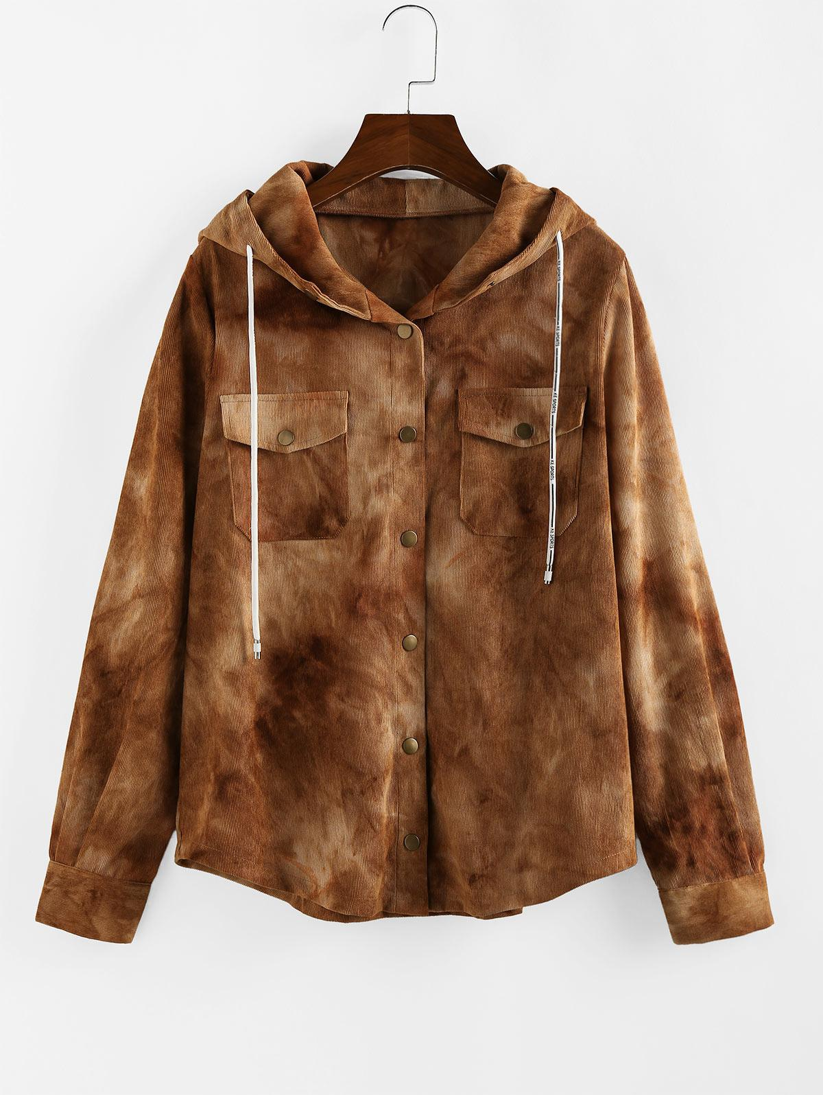 ZAFUL Corduroy Tie Dye Pocket Hooded Jacket