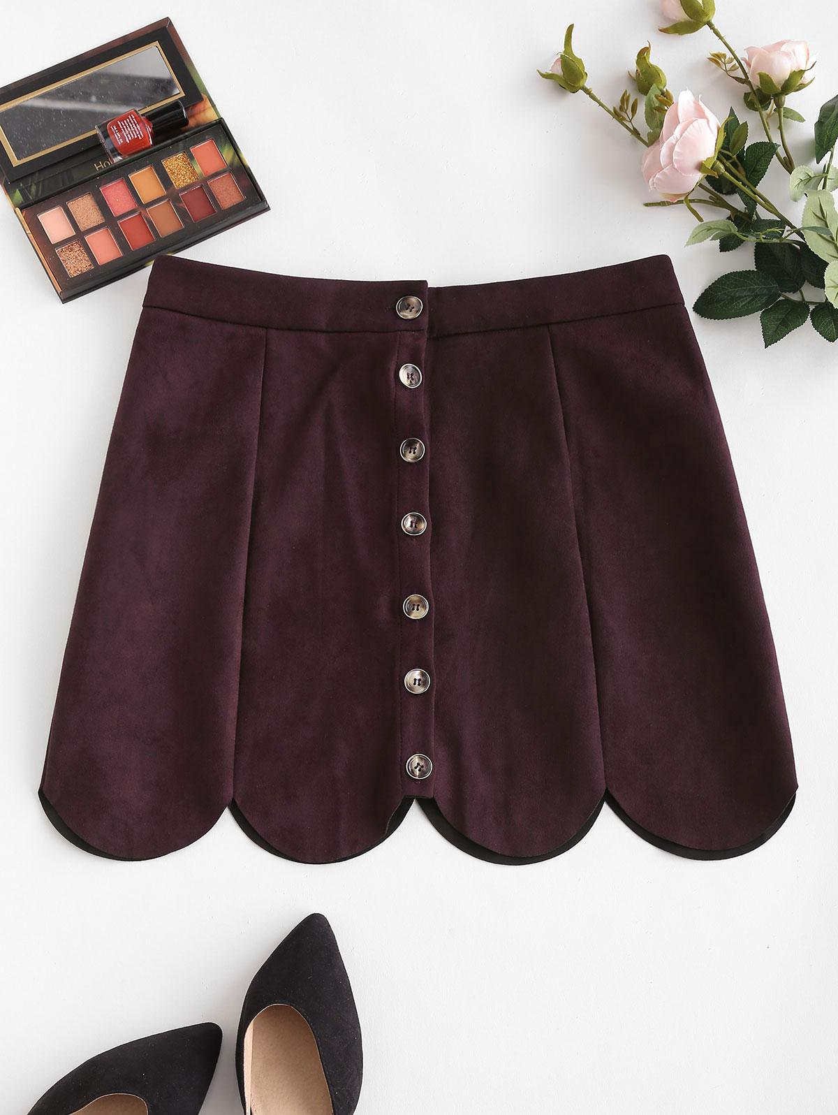 Button Up Scalloped Hem Faux Suede Skirt