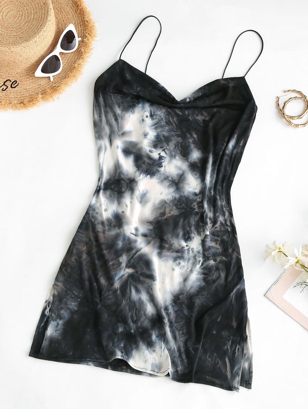 Cowl Neck Tie Dye Side Slit Cami Dress