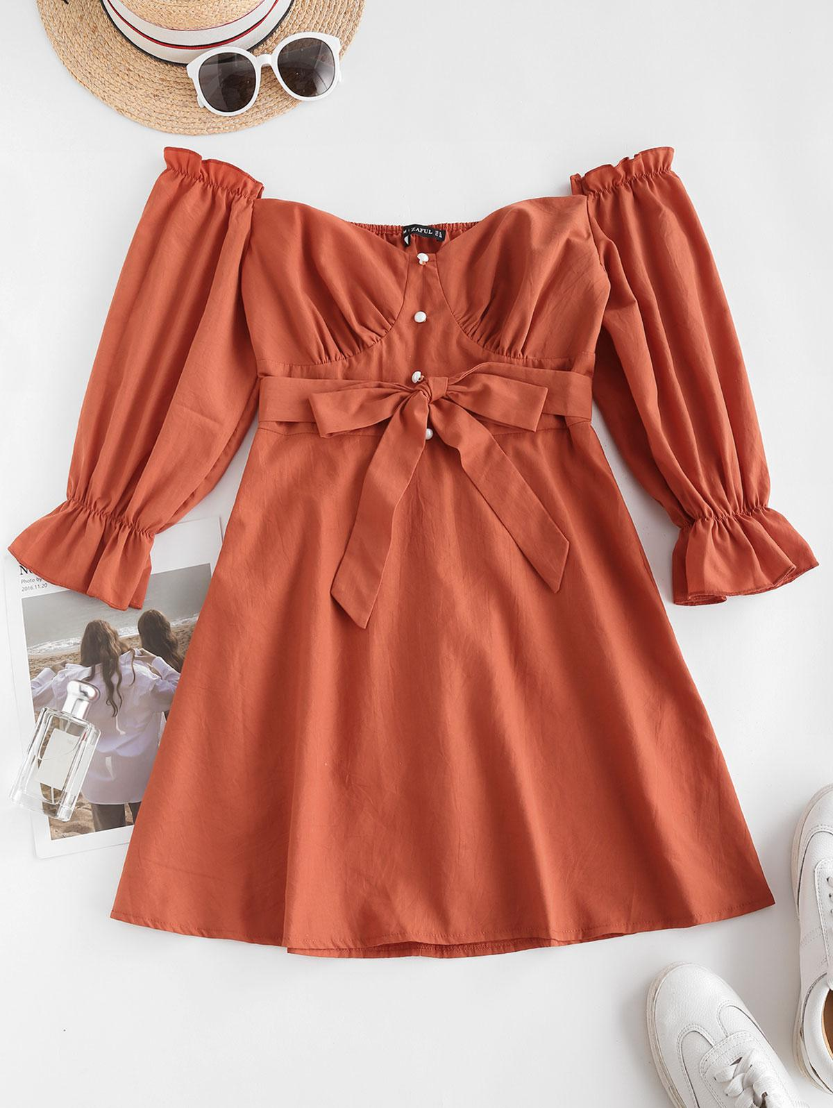 ZAFUL Belted Pearly Buttoned Off Shoulder Dress