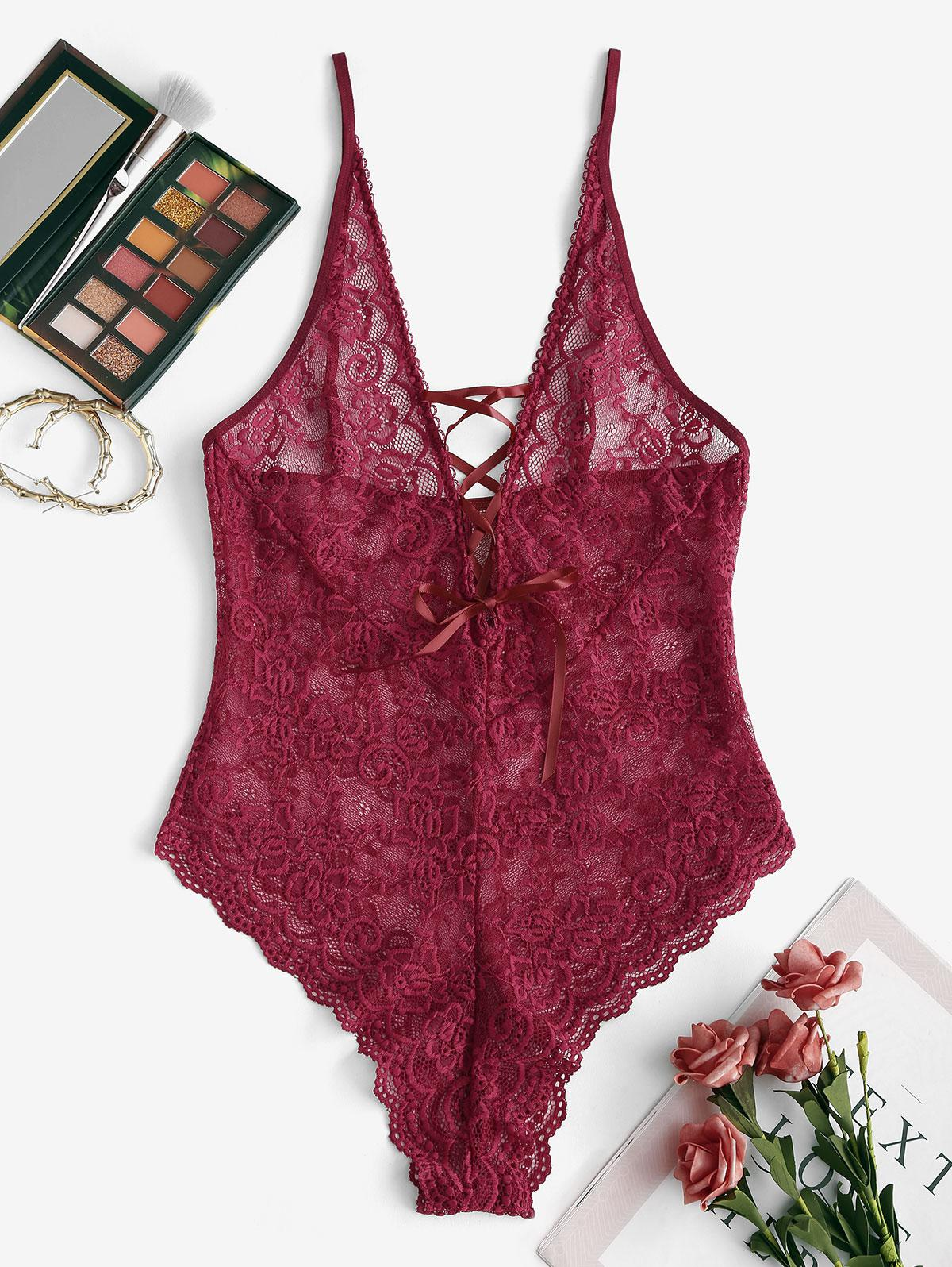 Scalloped Lace Backless Lace-up Lingerie Teddy