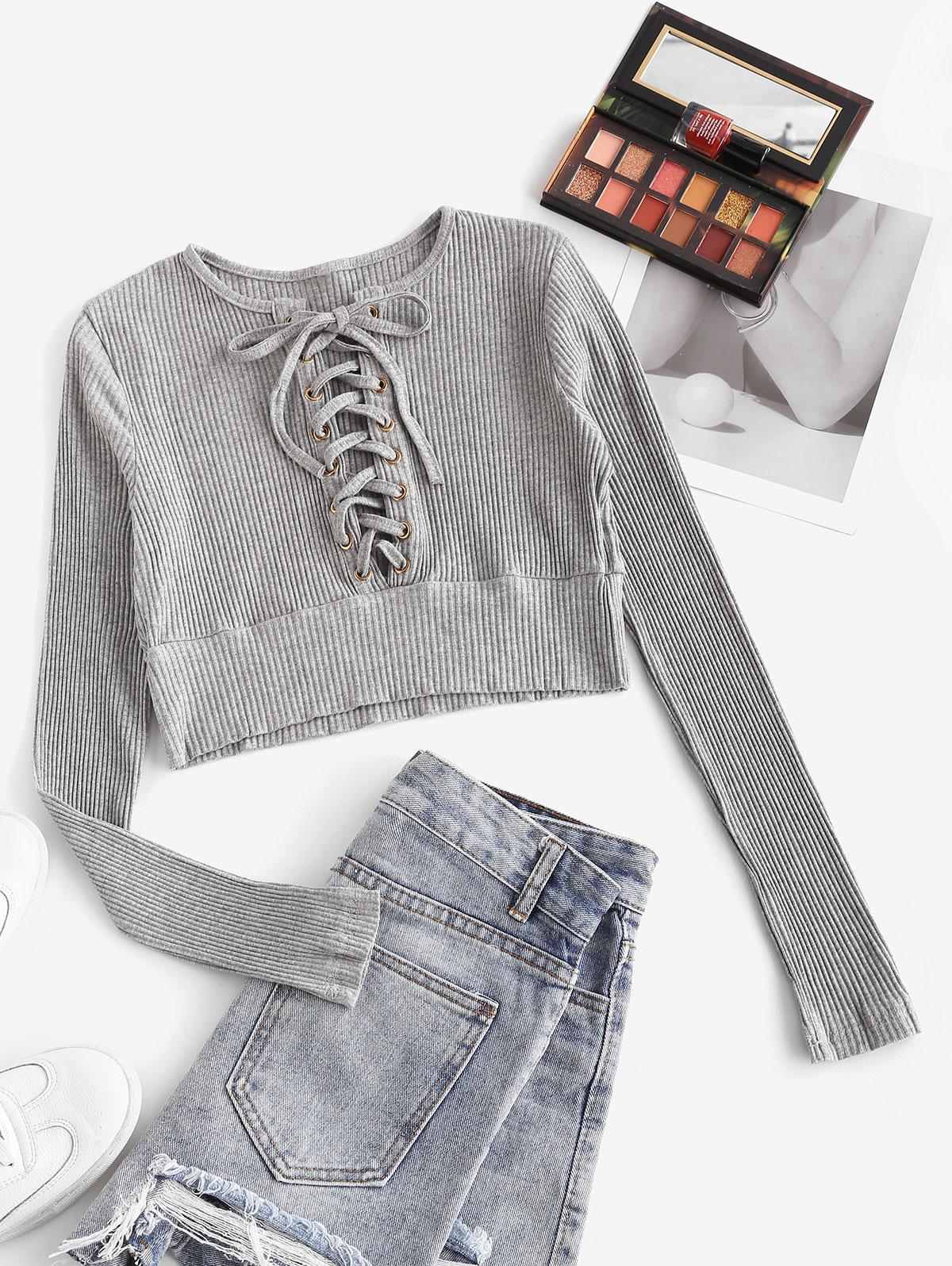 Cropped Ribbed Lace Up Tee