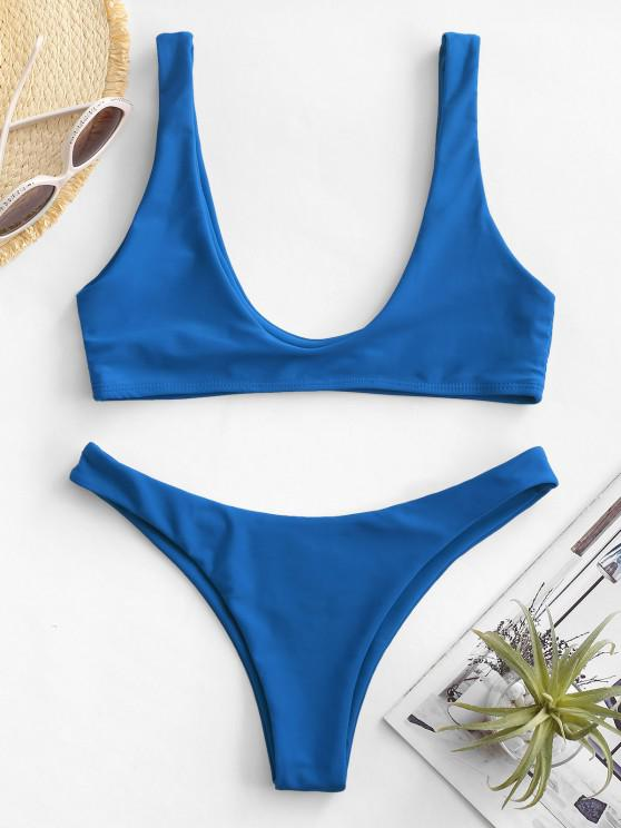 hot High Cut Bikini Set - DODGER BLUE S