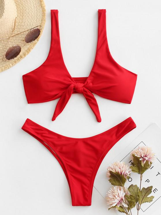 hot Scrunch Butt Knotted Thong Bikini - RED M