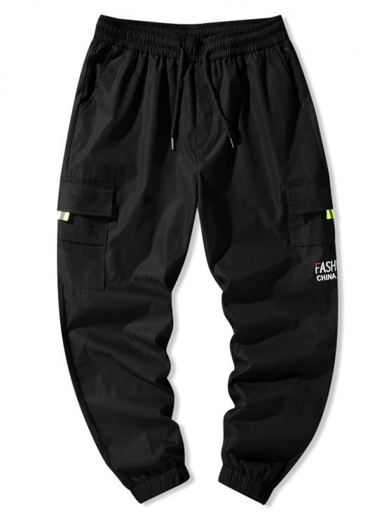lady Letter Embroidery Flap Pocket Cargo Pants - BLACK XL