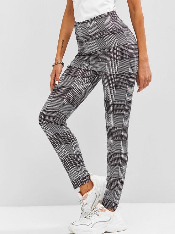 trendy High Waisted Plaid Leggings - BLACK S